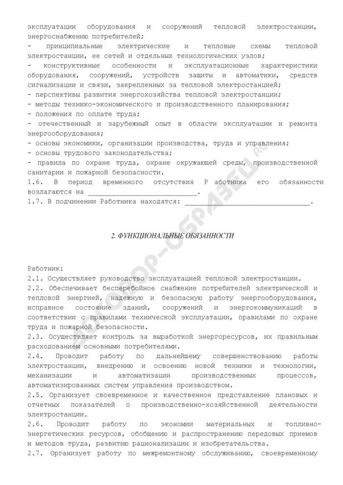 Должностная инструкция начальника тепловой электростанции. Страница 2