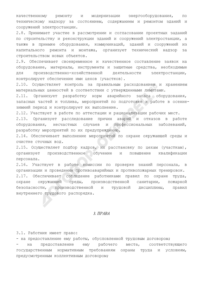 Должностная инструкция начальника тепловой электростанции. Страница 3