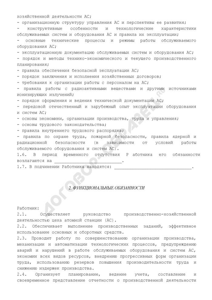 Должностная инструкция начальника цеха атомной станции. Страница 2