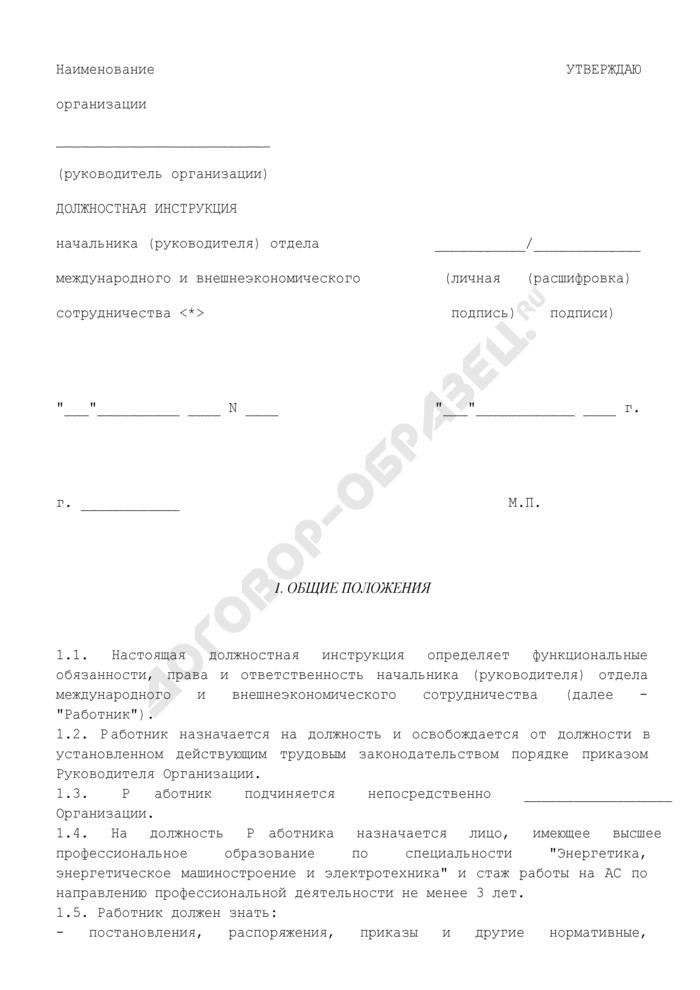 Должностная инструкция начальника (руководителя) отдела международного и внешнеэкономического сотрудничества. Страница 1