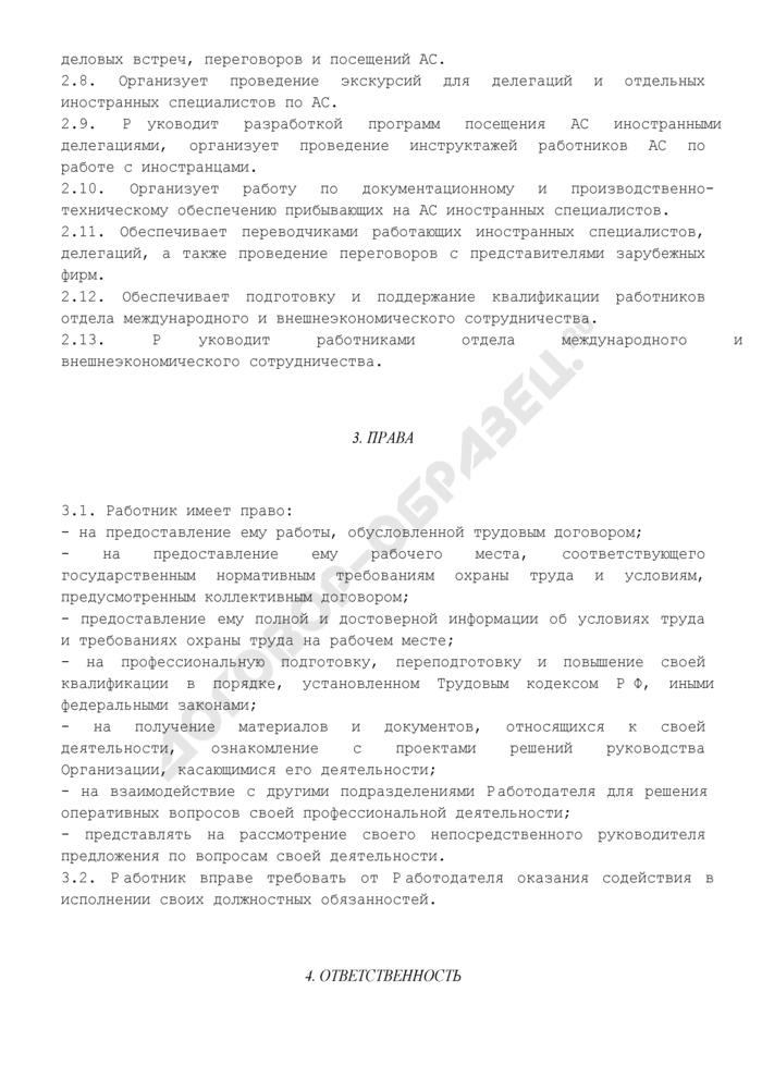 Должностная инструкция начальника (руководителя) отдела международного и внешнеэкономического сотрудничества. Страница 3
