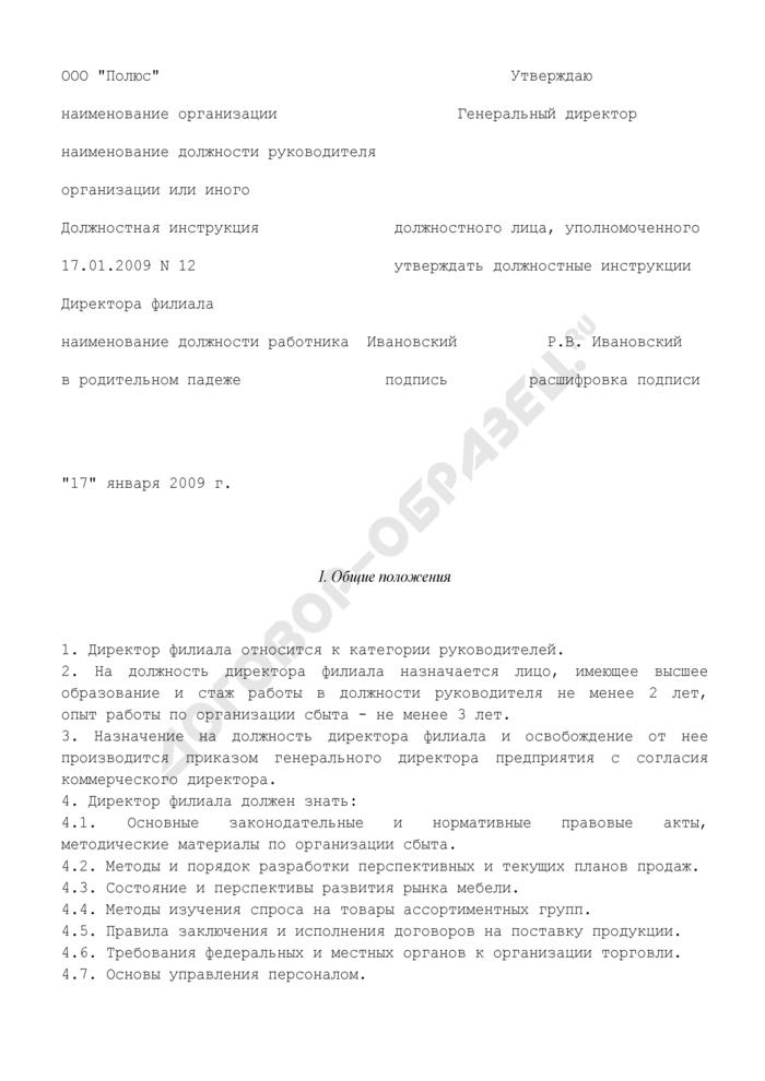 Должностная инструкция директора филиала (пример). Страница 1