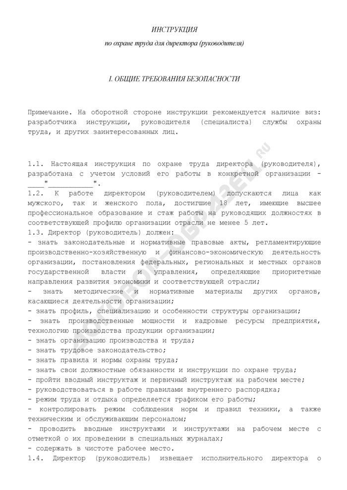 Инструкция по охране труда для директора (руководителя). Страница 2