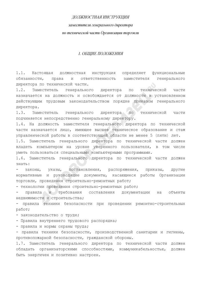 Должностная инструкция заместителя генерального директора по технической части предприятия торговли. Страница 1