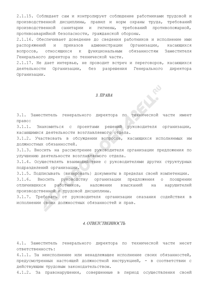 Должностная инструкция заместителя генерального директора по технической части предприятия торговли. Страница 3