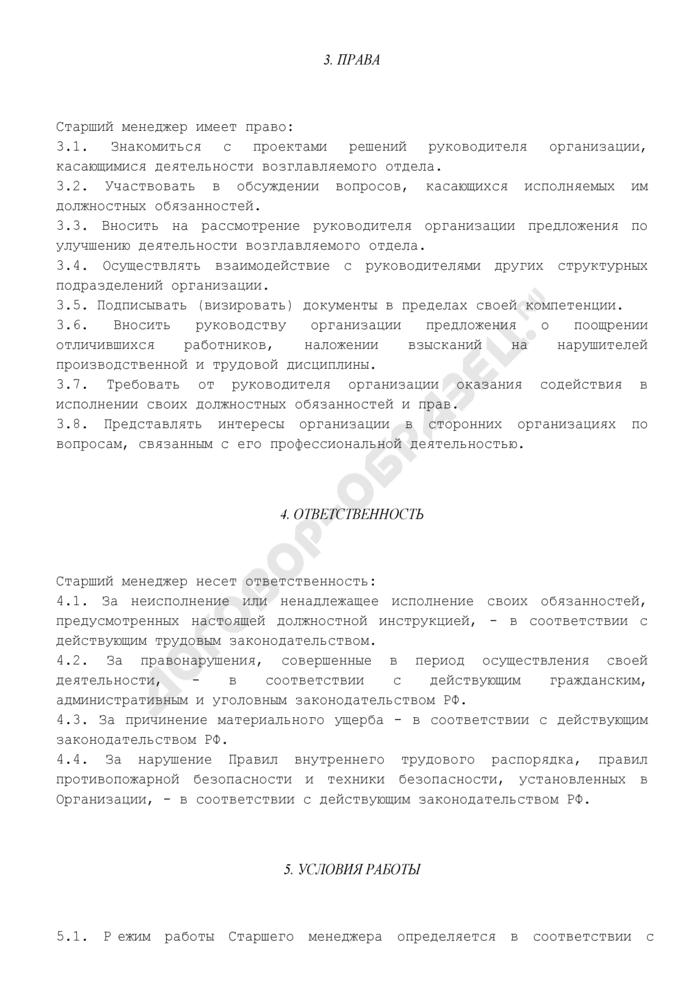 Должностная инструкция старшего менеджера (для магазинов бытовой техники). Страница 3