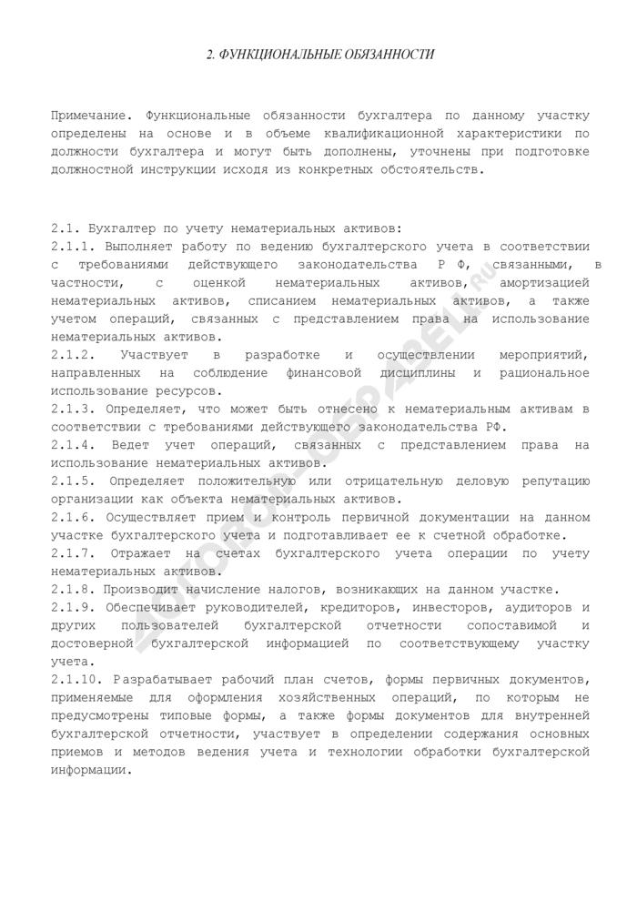 Должностная инструкция бухгалтера по учету нематериальных активов. Страница 2