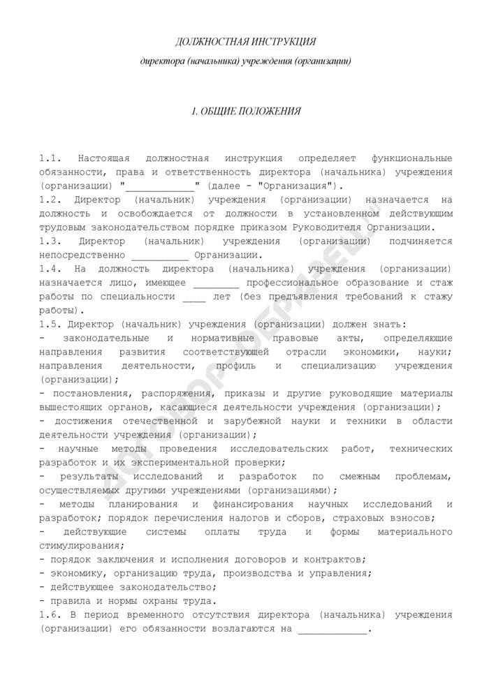 Должностная инструкция директора (начальника) учреждения (организации). Страница 1