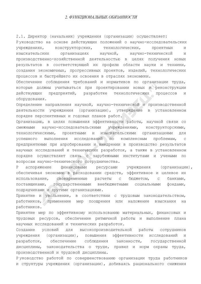 Должностная инструкция директора (начальника) учреждения (организации). Страница 2