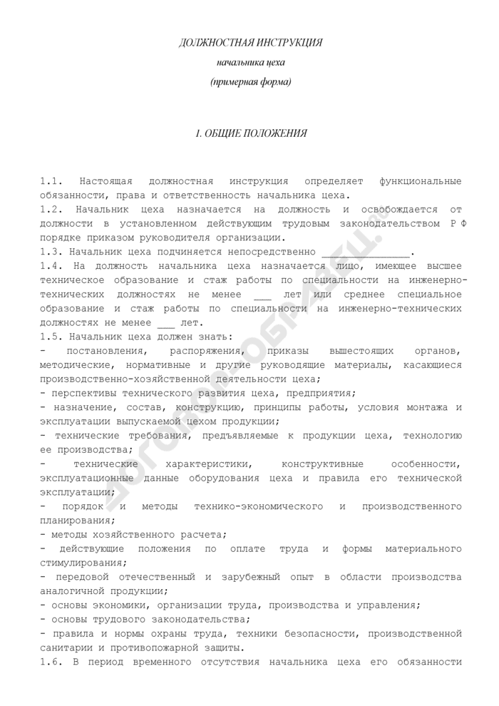 Должностная инструкция начальника цеха. Страница 1