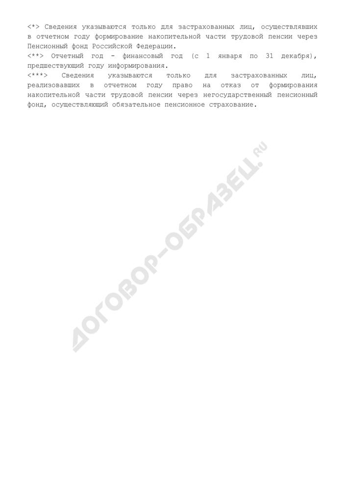 Извещение о состоянии индивидуального лицевого счета застрахованного лица в Пенсионном фонде Российской Федерации. Страница 2
