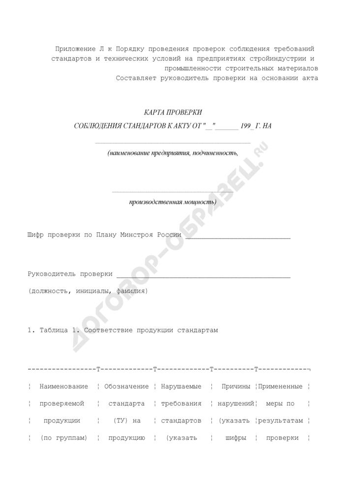 Карта проверки соблюдения стандартов к акту проверки соблюдения требований стандартов и технических условий на предприятии. Страница 1