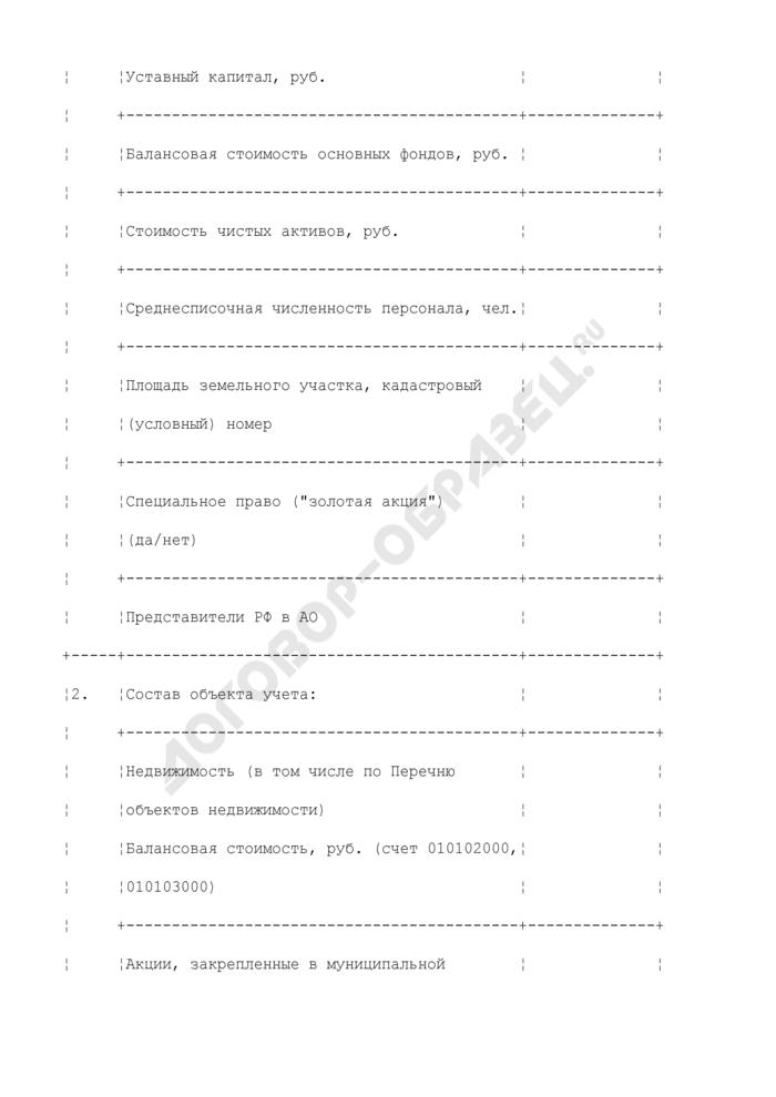 Карта учета муниципального имущества городского округа Черноголовка Московской области, имеющегося у юридического лица. Страница 2