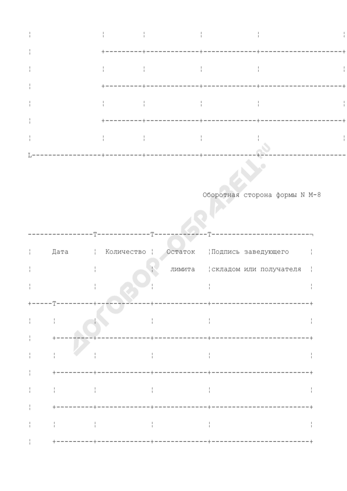 Лимитно-заборная карта. Типовая межотраслевая форма N М-8. Страница 3