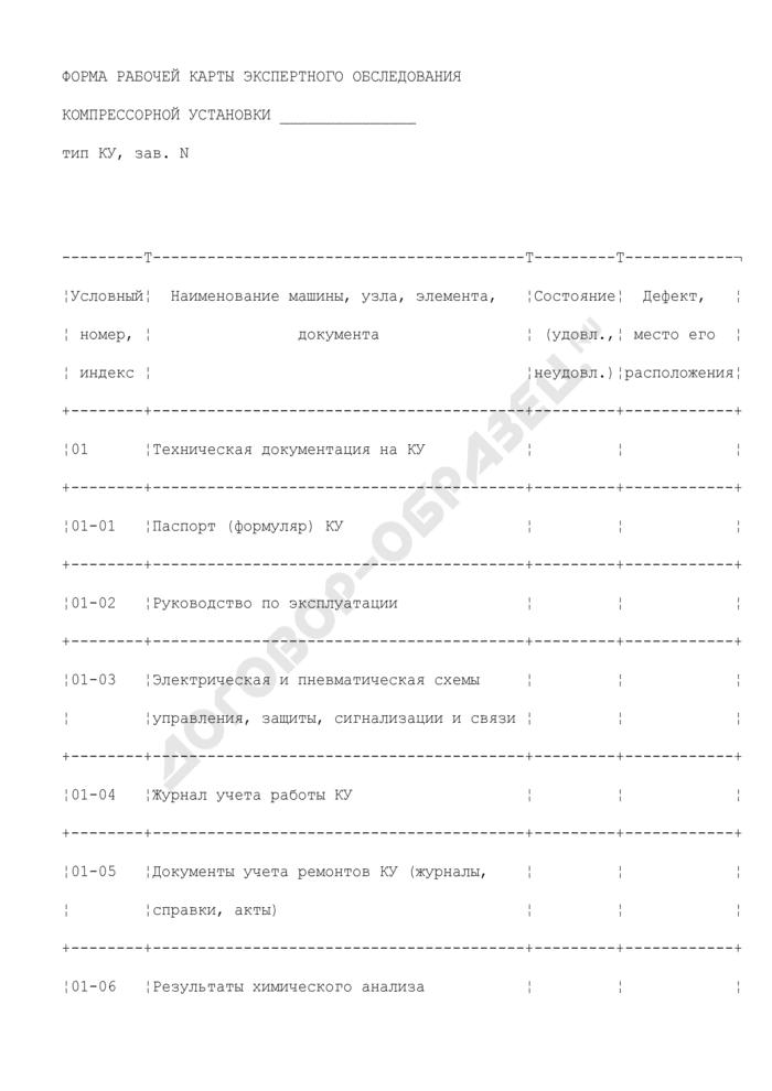 Форма рабочей карты экспертного обследования компрессорной установки, используемой на угольных шахтах и рудниках. Страница 1