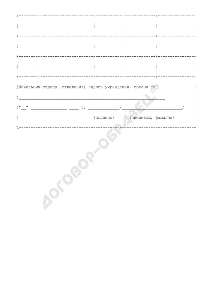 Алфавитная карточка сотрудника уголовно-исполнительной системы. Форма N 1. Страница 3