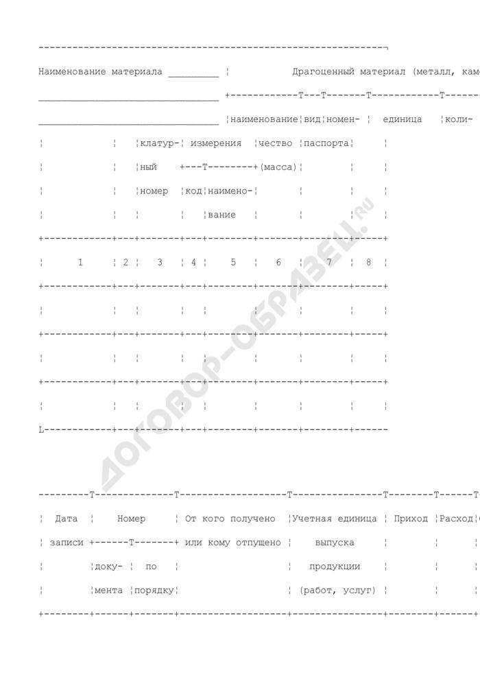 Карточка учета материалов. Типовая межотраслевая форма N М-17. Страница 2