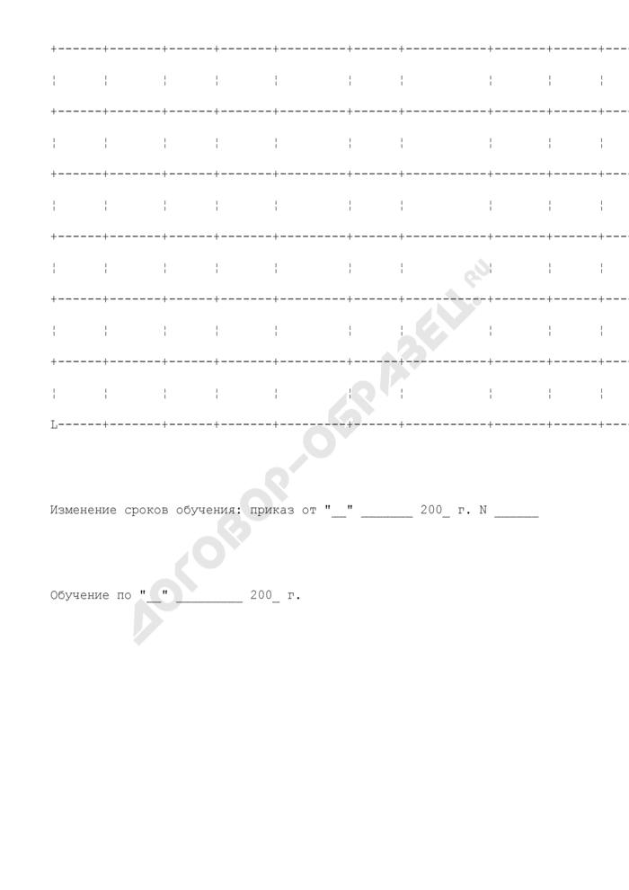Личная карточка учета гражданина, проходящего профессиональное обучение по направлению государственного учреждения службы занятости (центра занятости населения). Страница 3