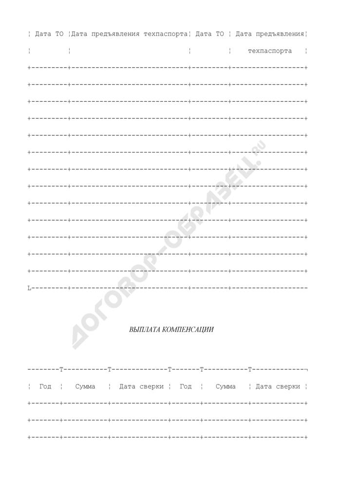 Учетная карточка автомототранспорта для выплаты компенсаций на эксплуатационные расходы и транспортное обслуживание. Страница 3