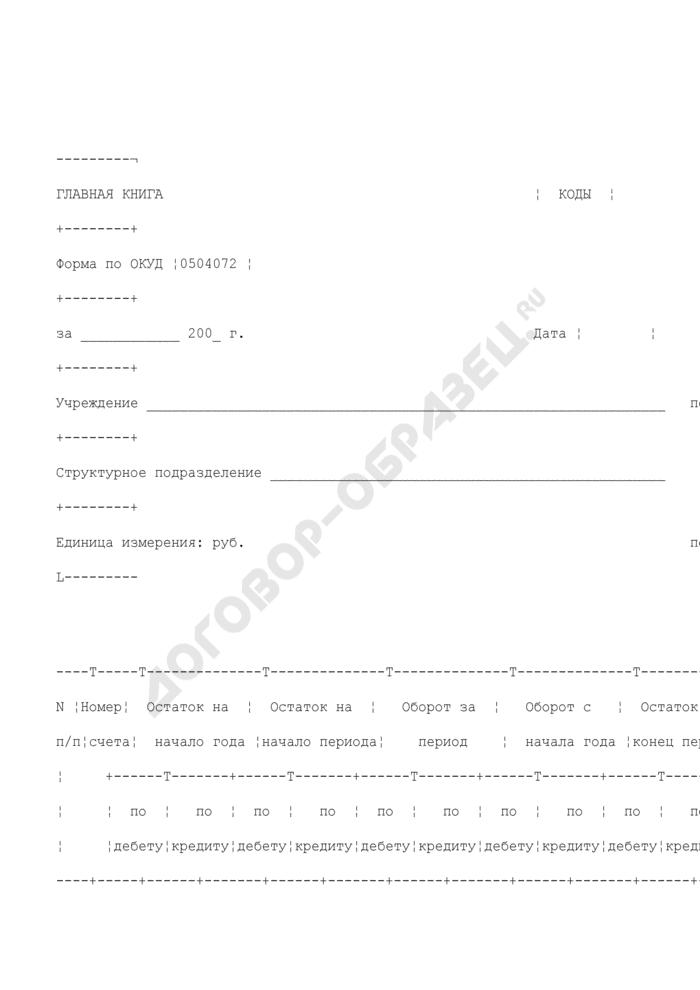 Главная книга бюджетного учета для ведения бюджетного учета для органов государственной власти Российской Федерации, федеральных государственных учреждений. Страница 1
