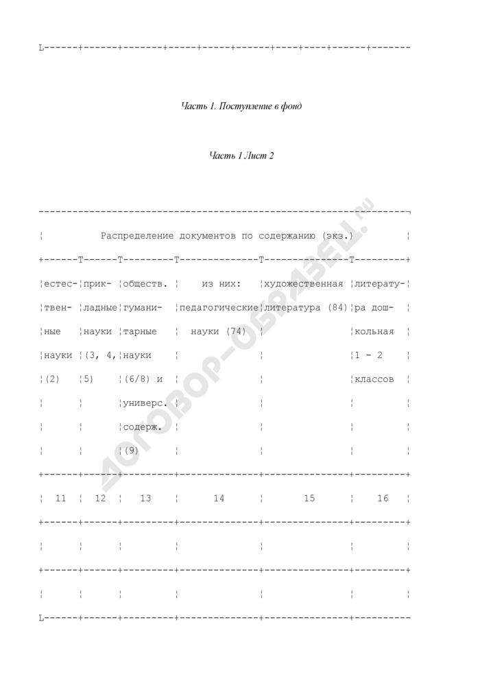 Книга суммарного учета библиотечного фонда библиотеки общеобразовательного учреждения. Страница 2