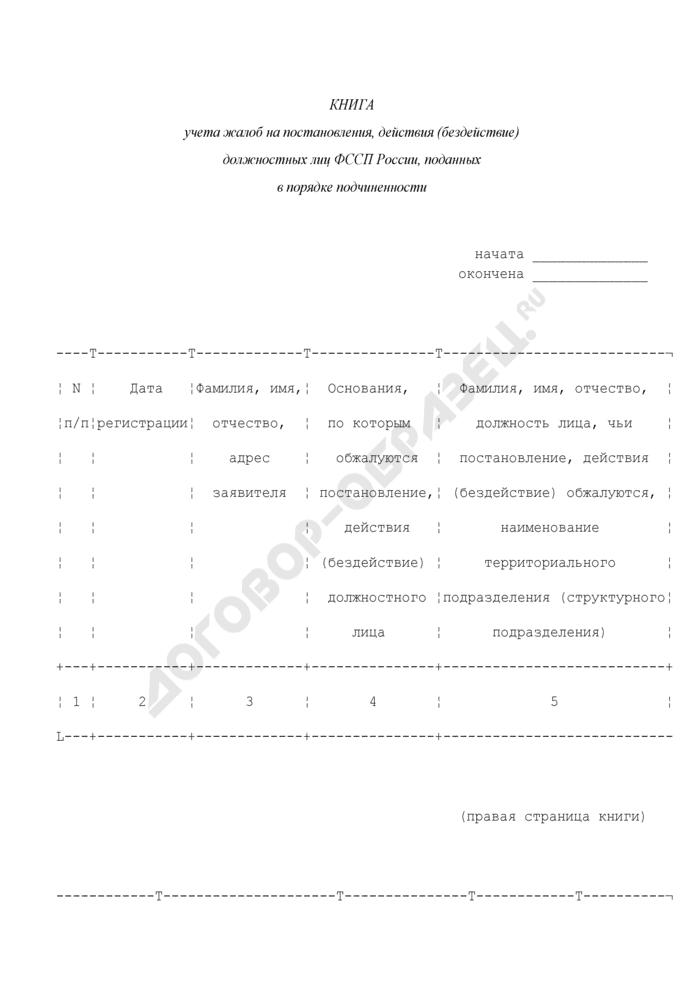 Книга учета жалоб на постановления, действия (бездействие) должностных лиц ФССП России, поданных в порядке подчиненности. Страница 1