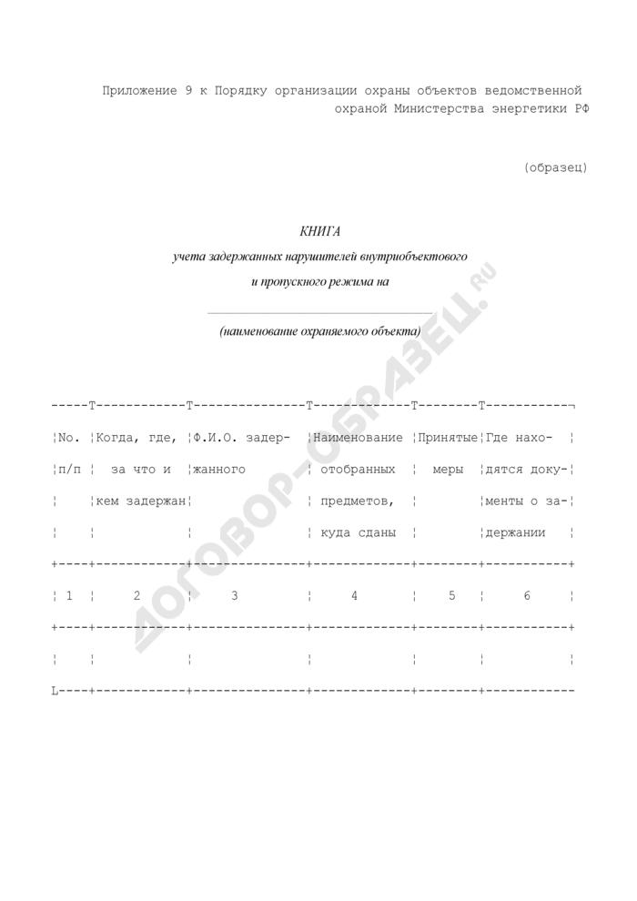 Книга учета задержанных нарушителей внутриобъектового и пропускного режима на охраняемом объекте. Страница 1
