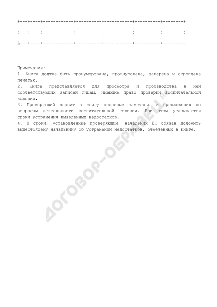 Книга замечаний и предложений о недостатках в деятельности администрации воспитательной колонии. Страница 2