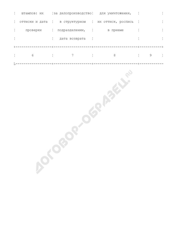 Книга учета печатей и штампов Федеральной службы судебных приставов. Страница 2