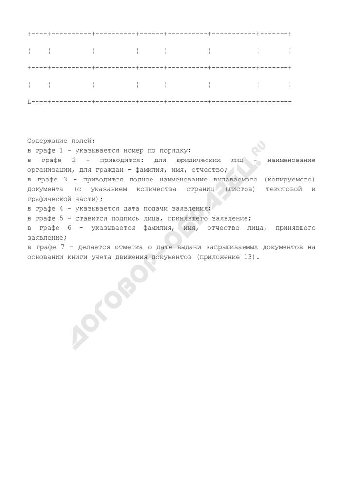 Книга учета принятых заявлений о предоставлении документов государственного фонда данных, полученных в результате проведения землеустройства. Страница 2