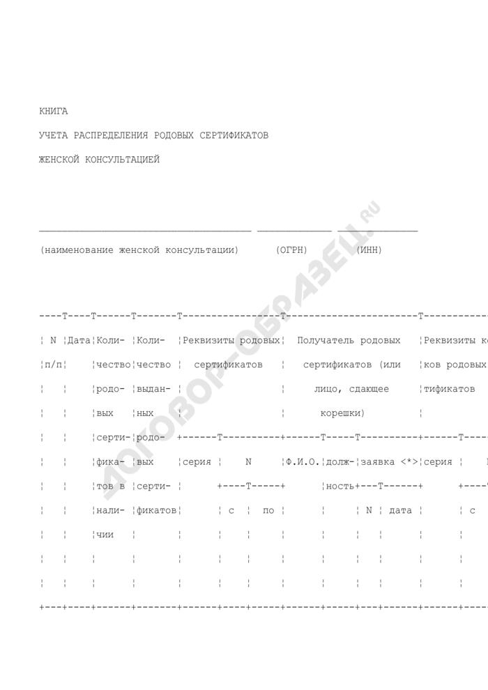 Книга учета распределения родовых сертификатов женской консультацией. Страница 1