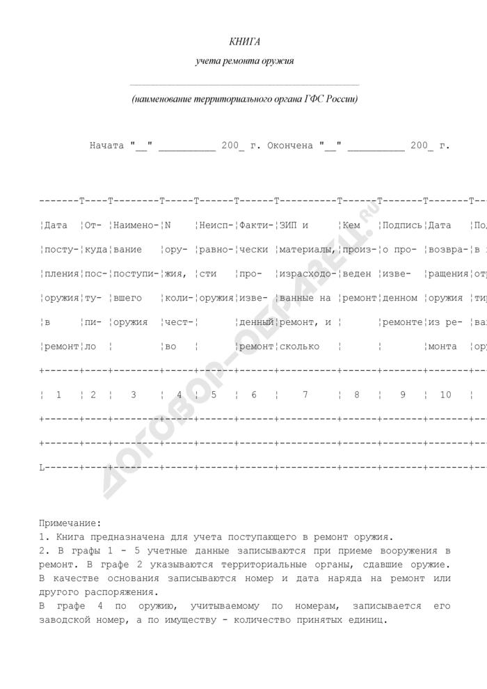 Книга учета ремонта оружия. Форма N 21. Страница 1