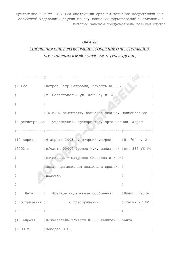 Образец заполнения книги регистрации сообщений о преступлениях, поступивших в войсковую часть (учреждение). Страница 1