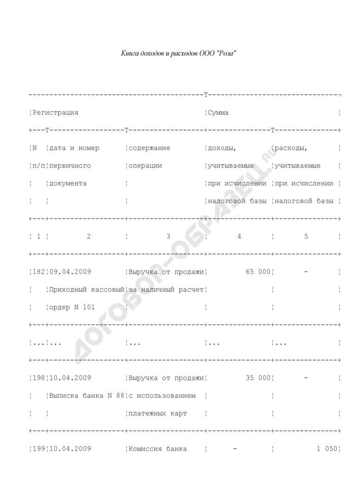 Образец заполнения книги доходов и расходов при использовании упрощенной системы налогообложения (УСНО). Страница 1