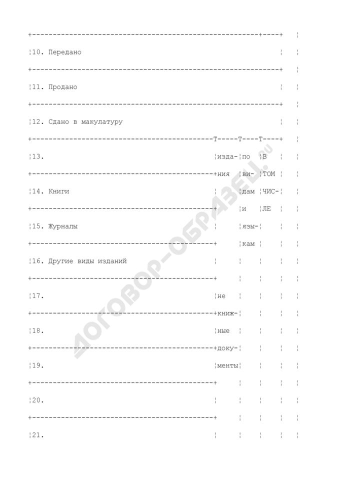 Образец листа книги суммарного учета библиотечного фонда. Выбытие из фонда. Страница 2