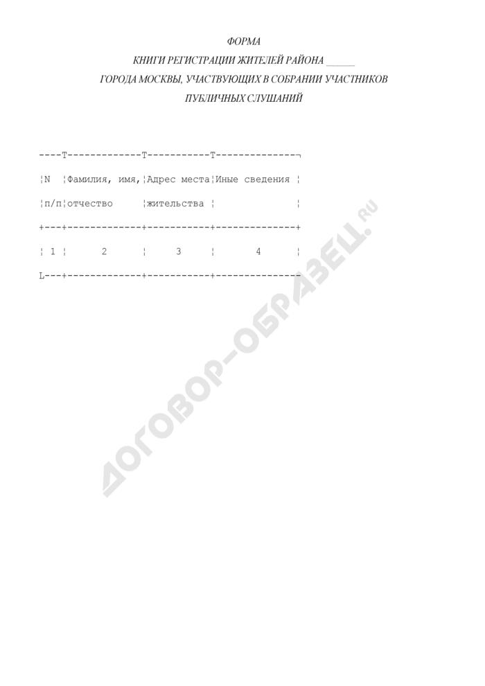 Форма книги регистрации жителей города Москвы, участвующих в собрании участников публичных слушаний. Страница 1
