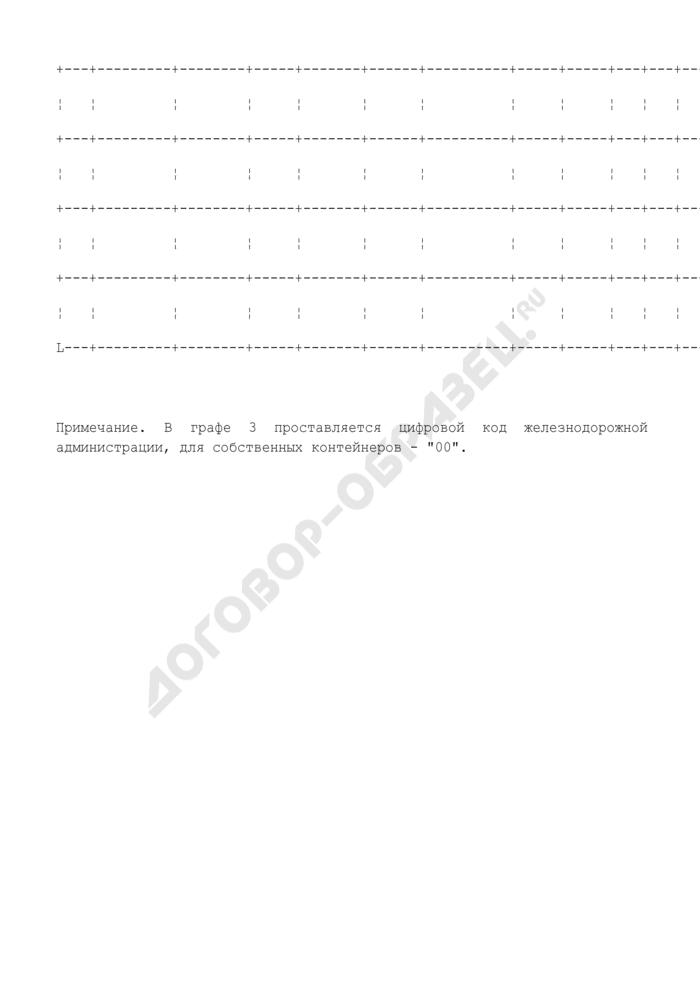 Книга номерного учета сортировки и простоя транзитных контейнеров на контейнерном пункте станции ж/д. Форма N КЭУ-3. Страница 2