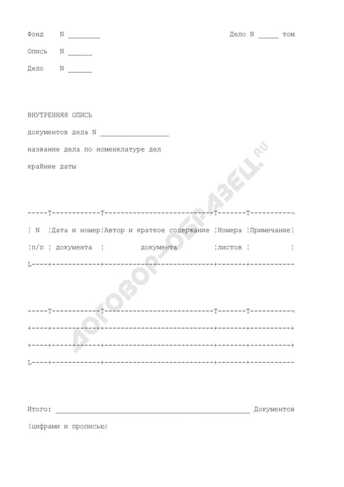 Внутренняя опись документов дела постоянного хранения в аппарате Центральной избирательной комиссии Российской Федерации. Страница 1