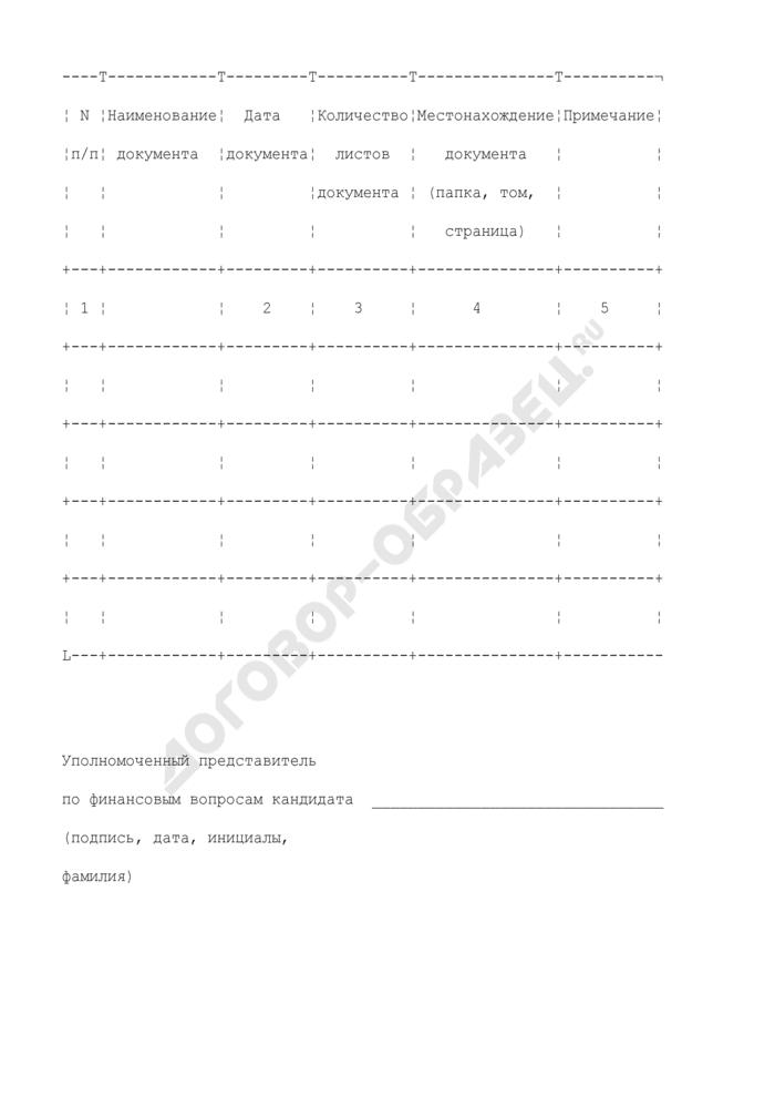 Опись документов и материалов, прилагаемых к итоговому финансовому отчету кандидата при проведении выборов Президента Российской Федерации. Форма N 7. Страница 1