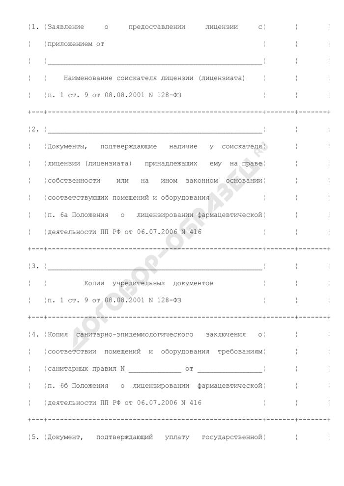 Опись документов, представленных соискателем лицензии (лицензиатом), для получения лицензии на осуществление фармацевтической деятельности в сфере обращения лекарственных средств, предназначенных для животных (приложение к заявлению о предоставлении лицензии на осуществление фармацевтической деятельности в сфере обращения лекарственных средств, предназначенных для животных). Страница 2