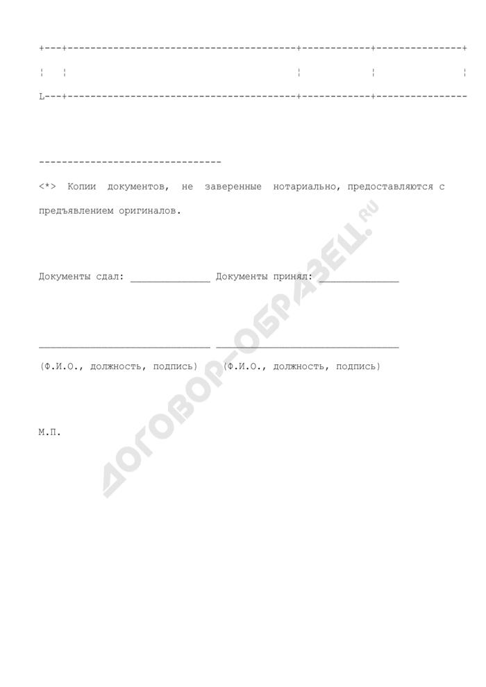 Опись документов для предоставления лицензии на эксплуатацию химически опасных производственных объектов (образец). Страница 2