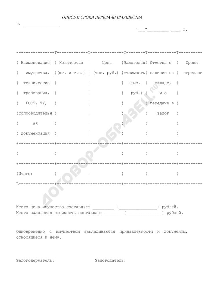 Опись и сроки передачи имущества (приложение к договору залога имущества в обеспечение обязательств по кредитному договору (залог товаров на складе)). Страница 1
