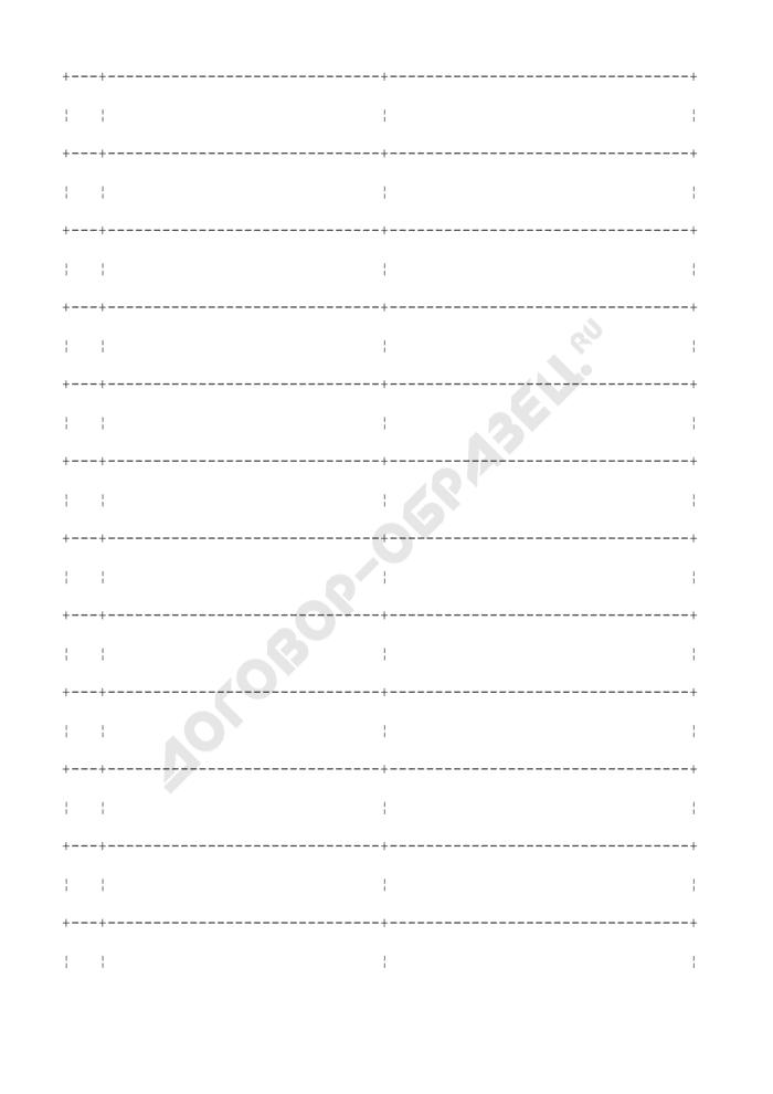 Опись изготовленной печати (штампа), представляемая изготовителем в структурное подразделение для внесения сведений, подлежащих архивированию, в городской реестр печатей. Страница 2