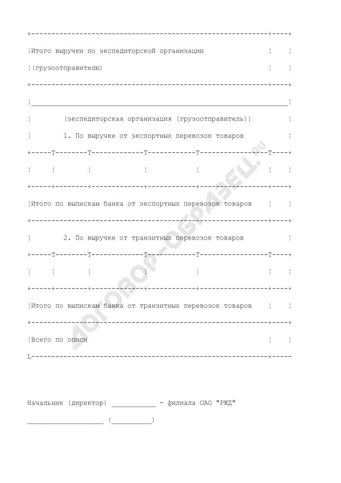 Опись копий выписок банка, включенных в реестр выписок банка (по платежам за импортные перевозки товаров), подтверждающих фактическое поступление выручки. Страница 2