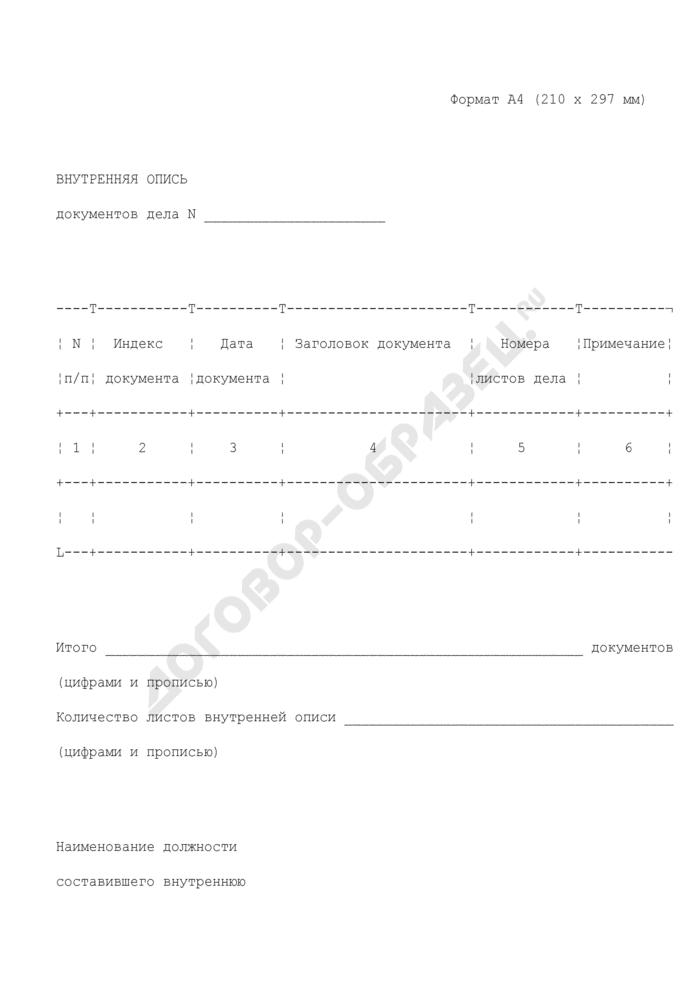 Внутренняя опись документов дела Федеральной службы судебных приставов. Страница 1
