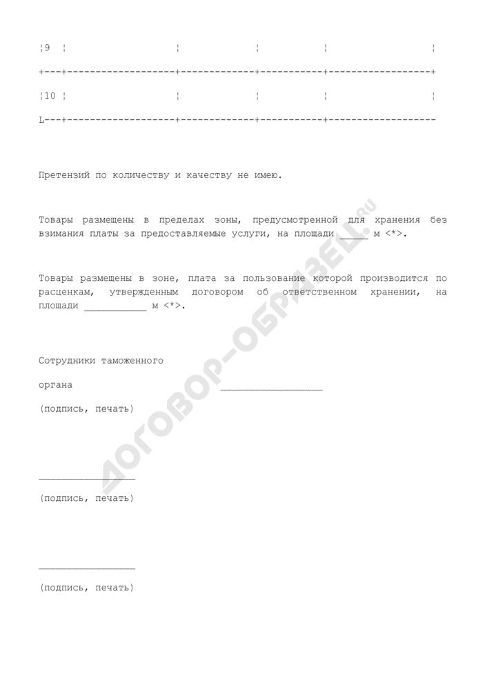 Опись товаров, передаваемых на ответственное хранение (приложение к договору об ответственном хранении товаров, изъятых в соответствии с таможенным законодательством). Страница 2