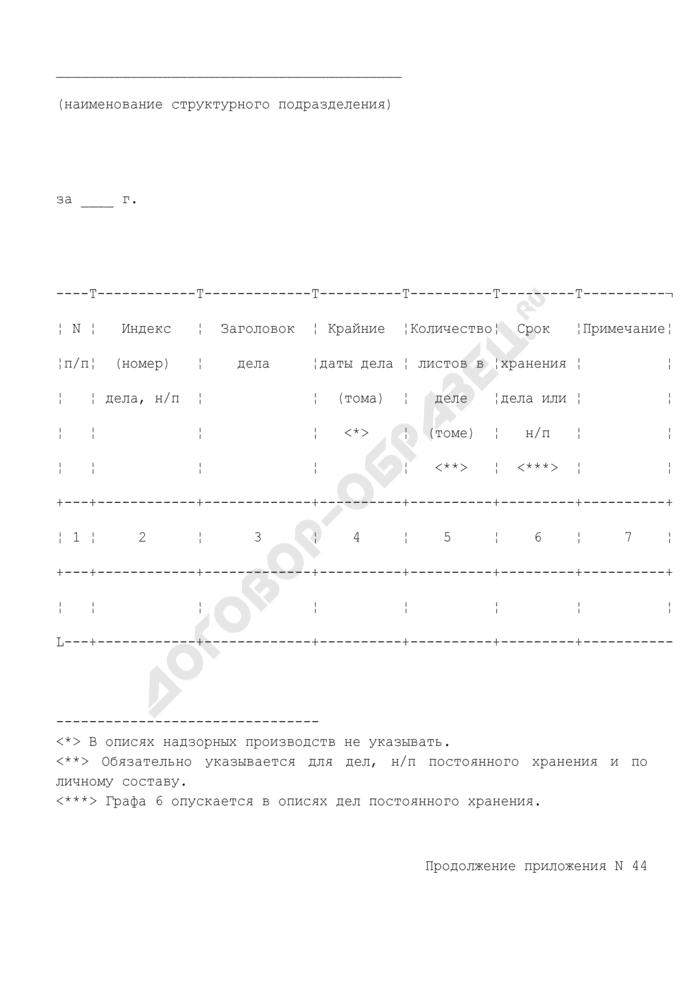 Форма описи дел постоянного, временного хранения или по личному составу структурного подразделения, подлежащих передаче на хранение в архив прокуратуры, следственного органа или их учреждений. Страница 2