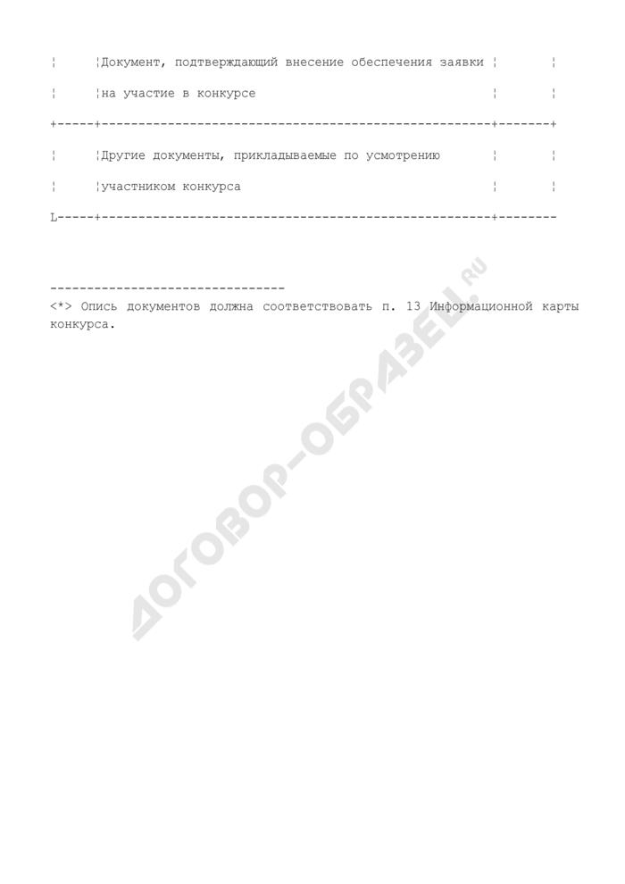 Форма описи документов, представляемых для участия в открытом конкурсе. Страница 3