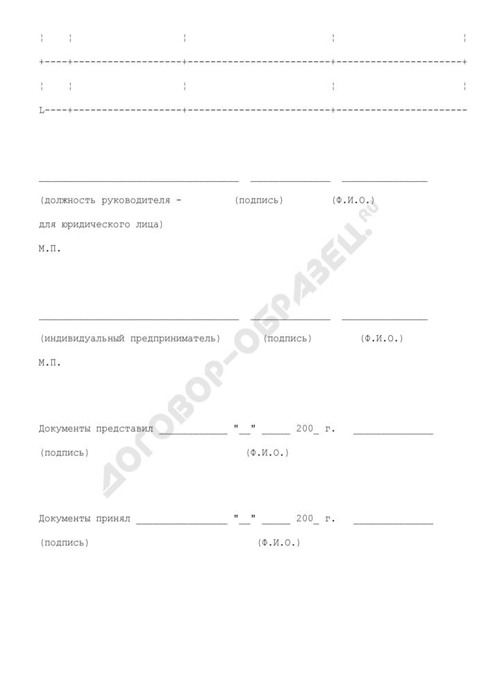 """Форма описи представленных документов, используемых Министерством регионального развития Российской Федерации в процессе лицензирования в соответствии с Федеральным законом """"О лицензировании отдельных видов деятельности. Страница 2"""