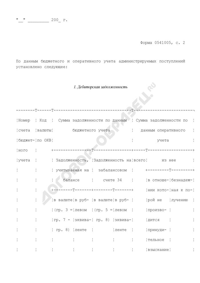 Инвентаризационная опись расчетов по администрируемым поступлениям. Страница 3